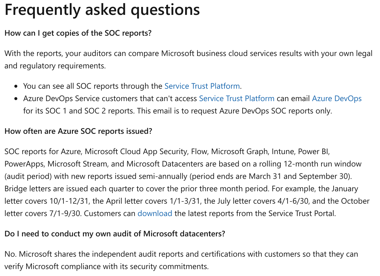 SOC 3 compliance for Microsoft