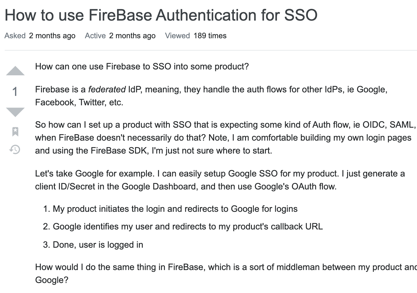 StackOverflow Question about Firebase SSO