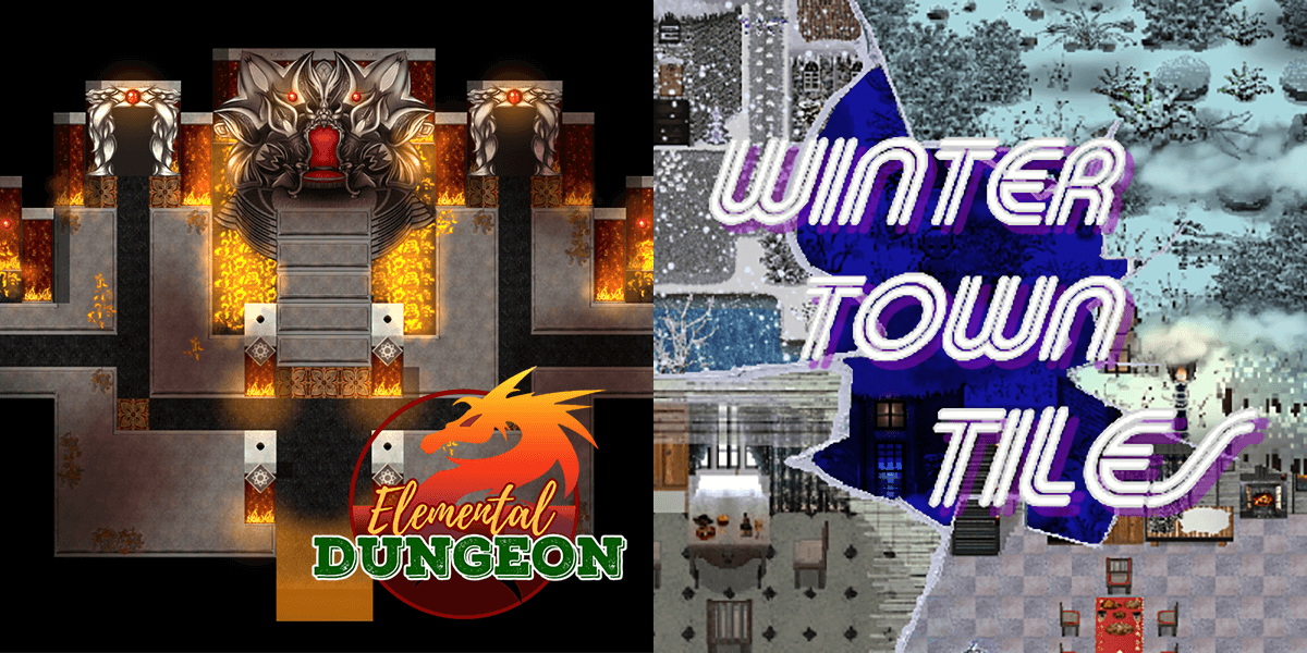 New Releases: KR Elemental Dungeon Tileset - Fire Water Earth Wind, Winter Town Tiles
