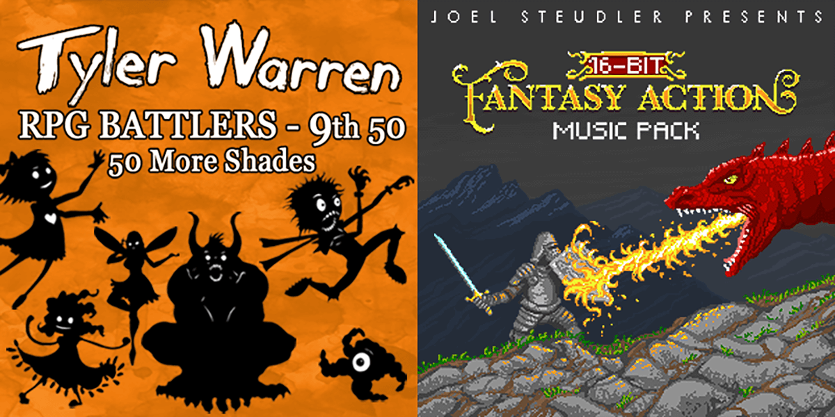 New Releases: Tyler Warren RPG Battlers 9th 50 - 50 More Shades, 16 Bit Fantasy Action Music Pack