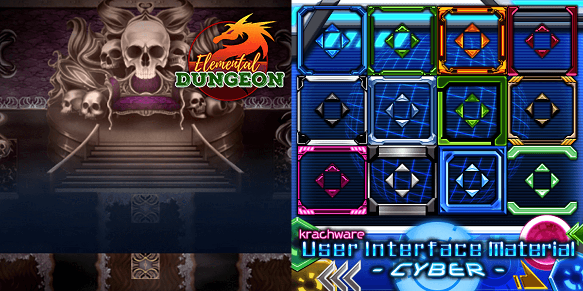 New Releases: KR Elemental Dungeon Tileset - Dark Light Lightning Metal, Krachware User Interface Material CYBER