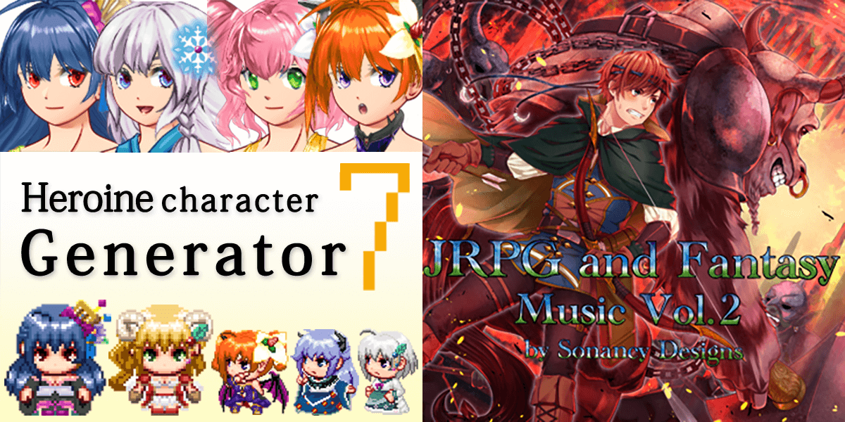 New Releases: Heroine Character Generator 7 for MZ, JRPG and Fantasy Music Vol 2