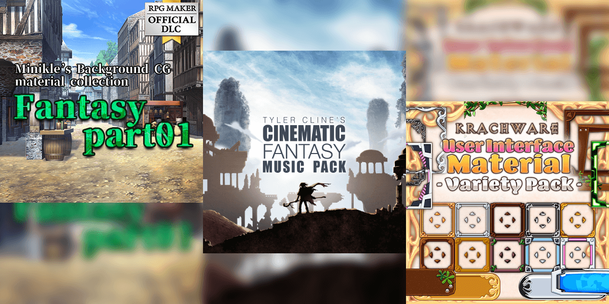 New Releases: Minikle's Background CG Material Collection Fantasy Part01, Tyler Cline's Cinematic Fantasy Music Pack, Krachware User Interface Material Variety Pack