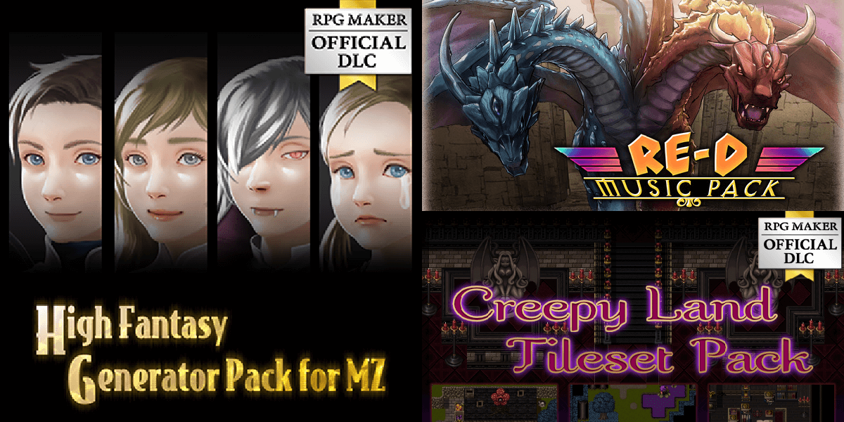New Releases: Creepy Land Tileset Pack, High Fantasy Generator Pack for MZ, RE-D MUSIC PACK