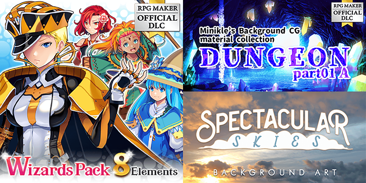 New Releases: Wizards Pack - 8 Elements, Minikle's Background CG Material Collection Dungeon part01 A, Spectacular Skies Background Art