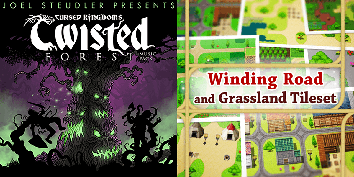 New Releases: Cursed Kingdoms - Twisted Forest Music Pack, Winding Road and Grassland Tileset