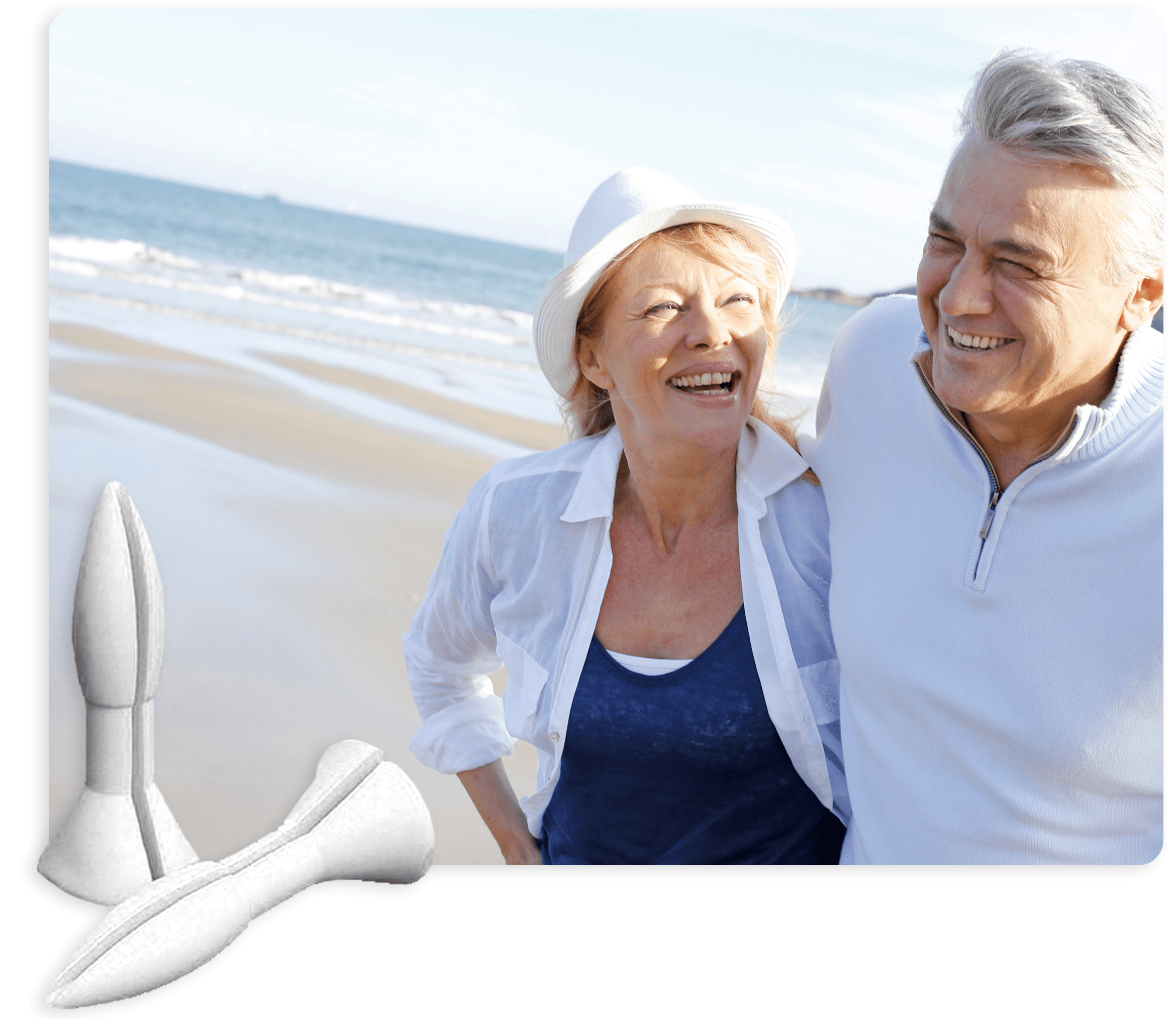 Happy couple walking on the beach with Rectal Rocket suppositories.
