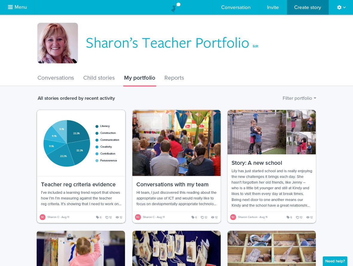 Storypark portfolios screenshot