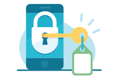 Padlock with a key on a mobile device vector