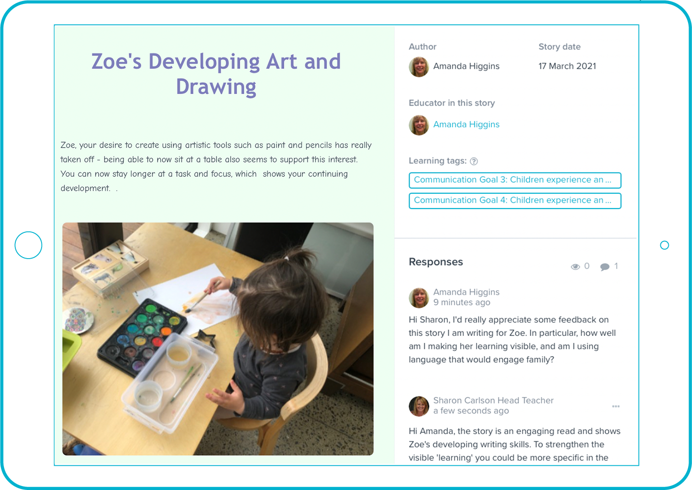 Storypark Educator Portfolios Screenshot