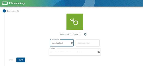 Pantalla de la clave API de Flexspring