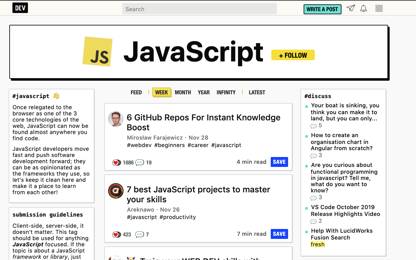 Image of Dev.to interface showing forum for Javascript