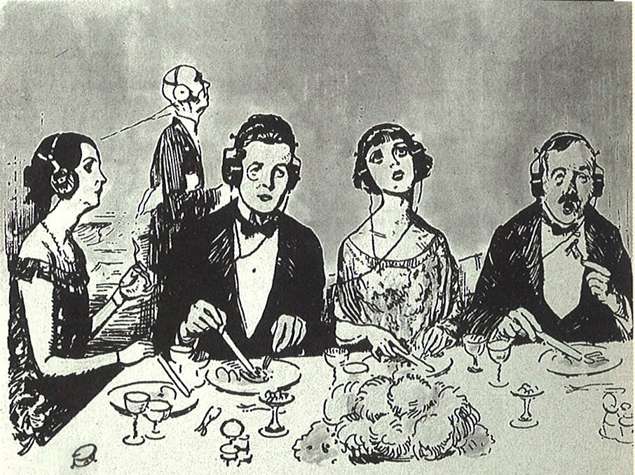 Image of diners in 20s clothing wearing headphones