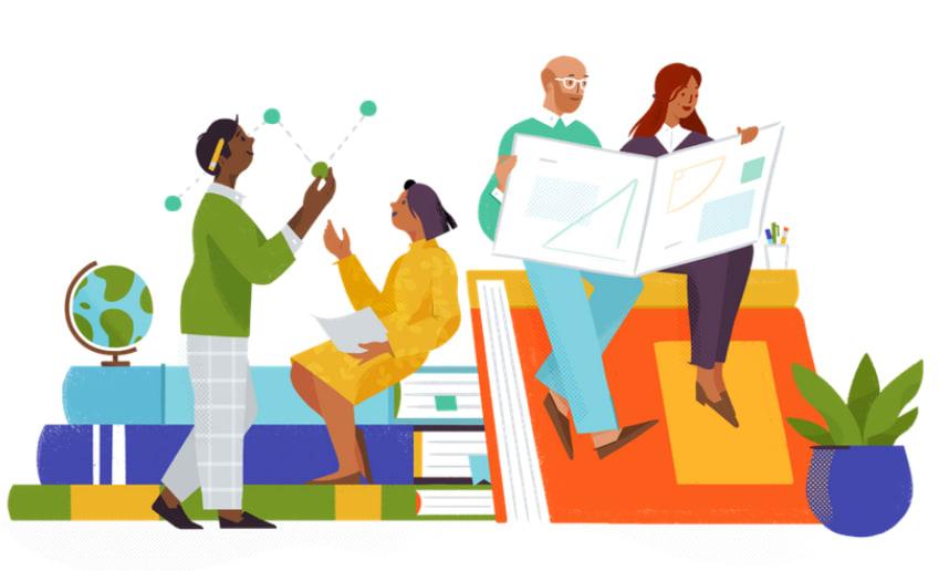 Alice Lee illustration of people working together for Slack