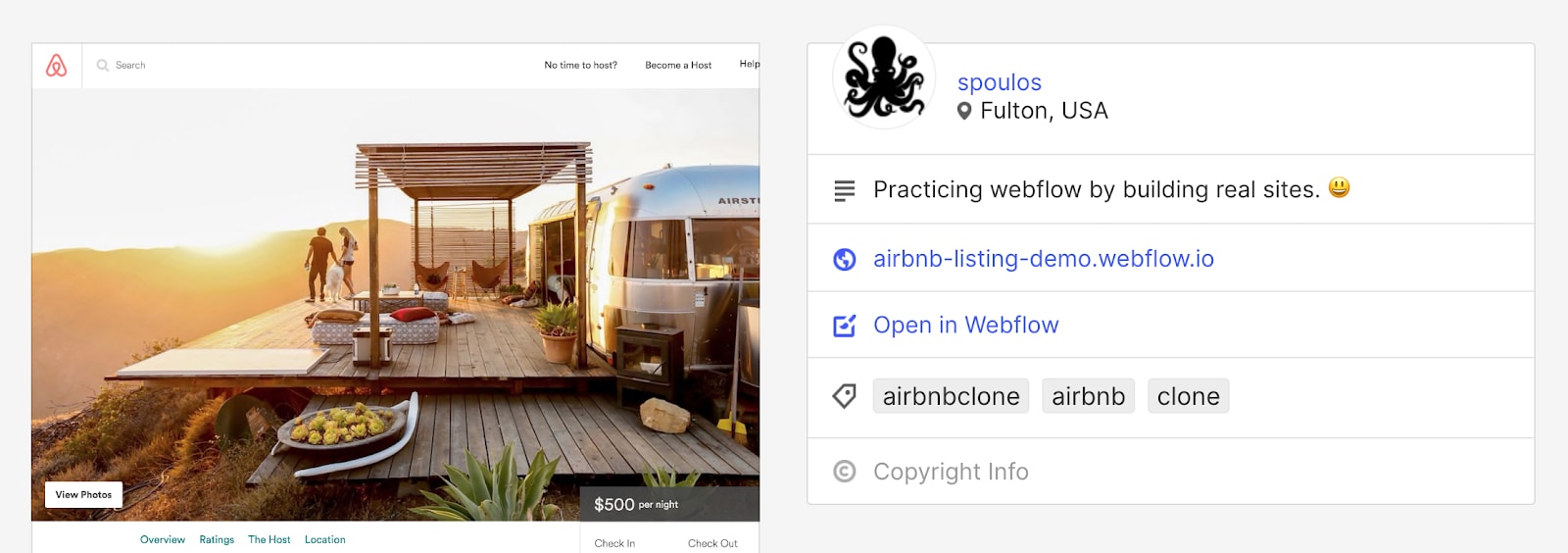 Screenshow showing Webflow cloneable template of Airbnb site