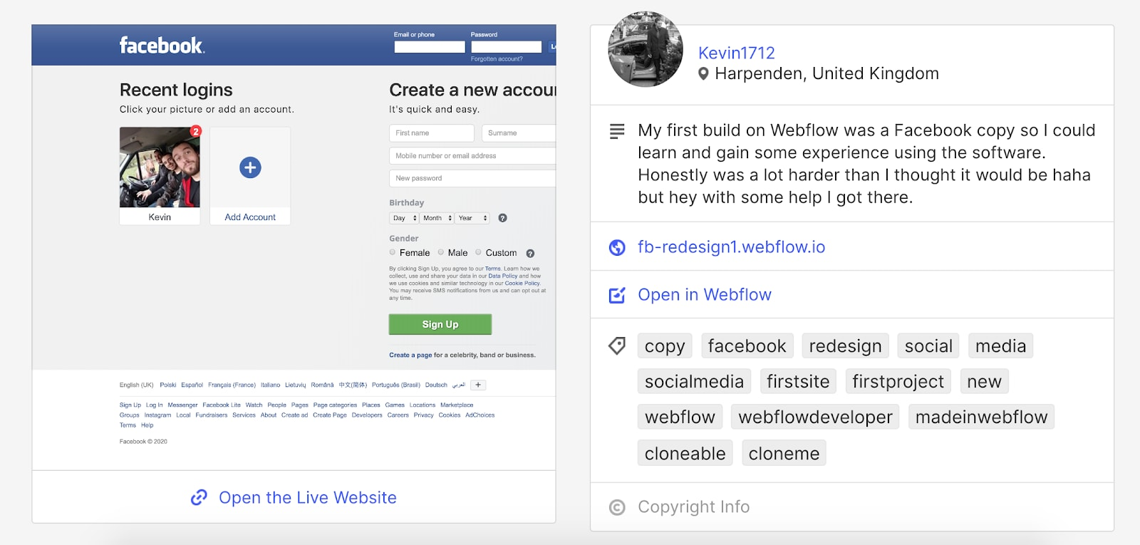 Screenshow showing Webflow cloneable template of Facebook site