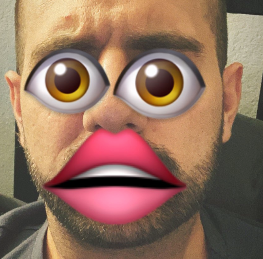 Image of a man's face overlaid with the eyes and lips emoji (a symbol of it is what it is)