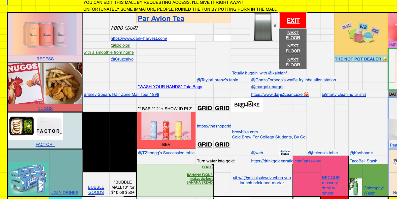 Screenshot of Virtual Mall, a collaborative spreadsheet