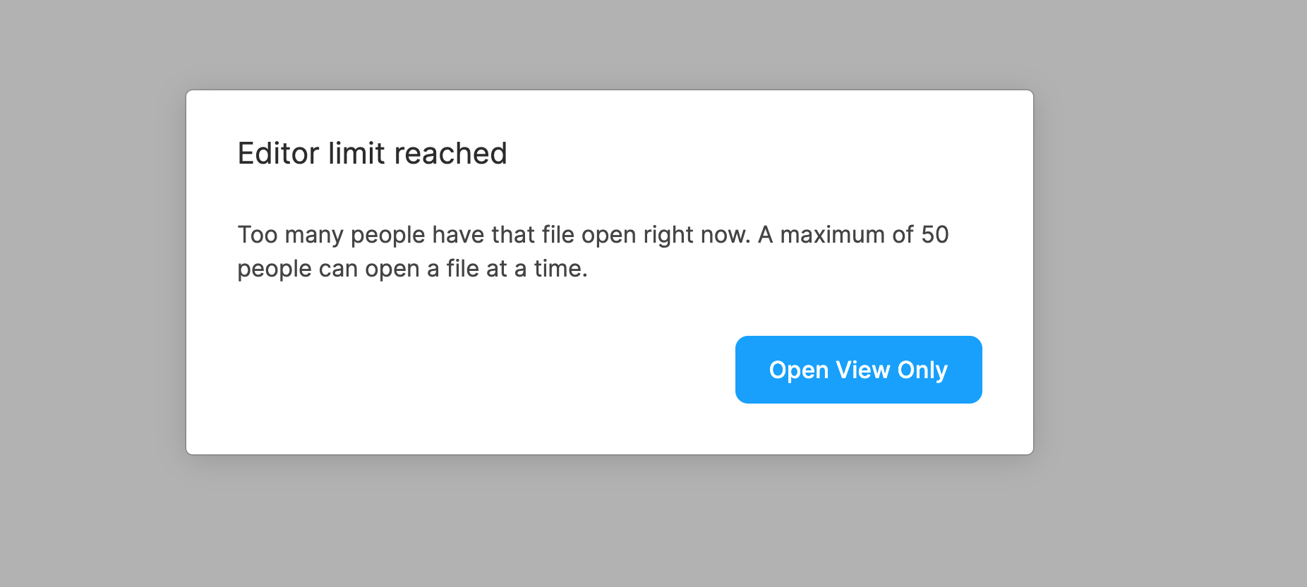 Figma's editor limit reached popup