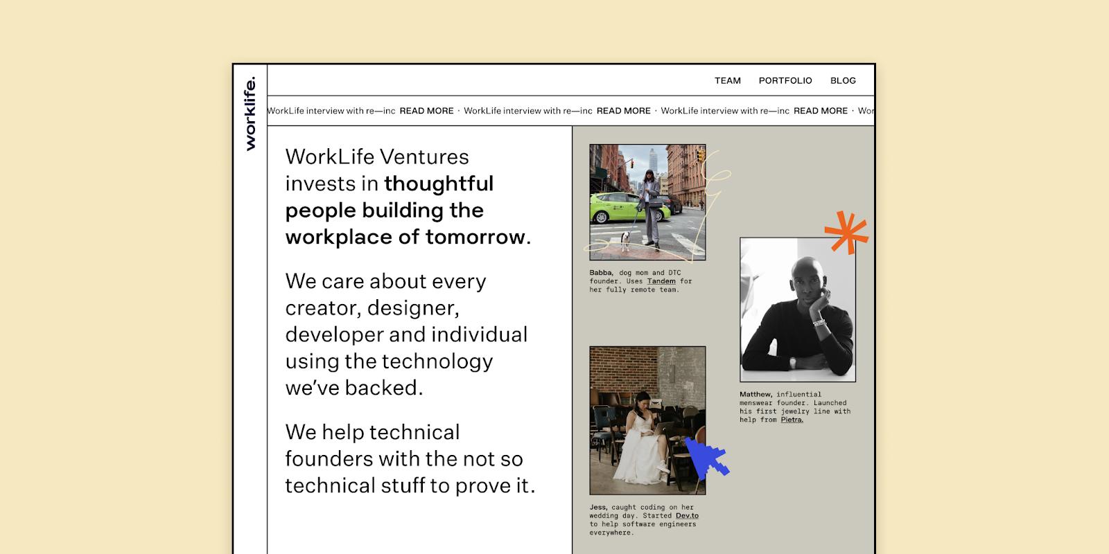 Screenshot of worklife website