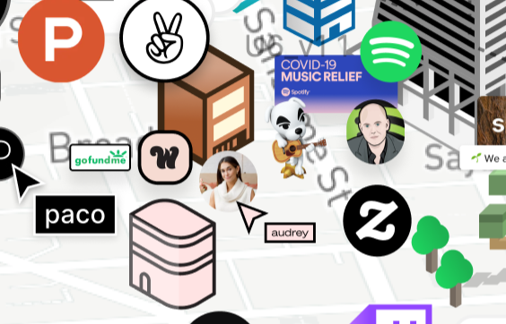 Closeup of offices and avatars in Stay At Home Valley
