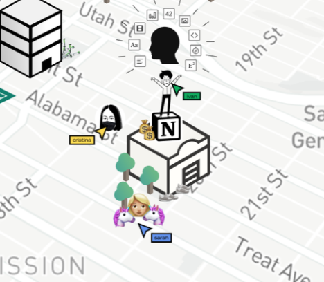 Closeup of Notion office in Stay At Home Valley