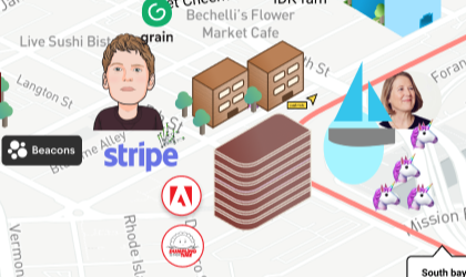 Closeup of Stripe offices in Stay at home Valley