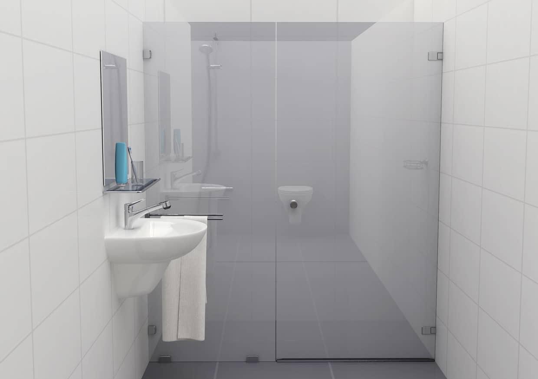 Douchecabine 180 graden mat glas met glasklem Type F (deur rechts)