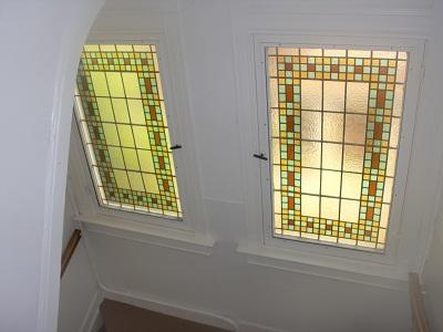 Glas in lood panelen trappengat