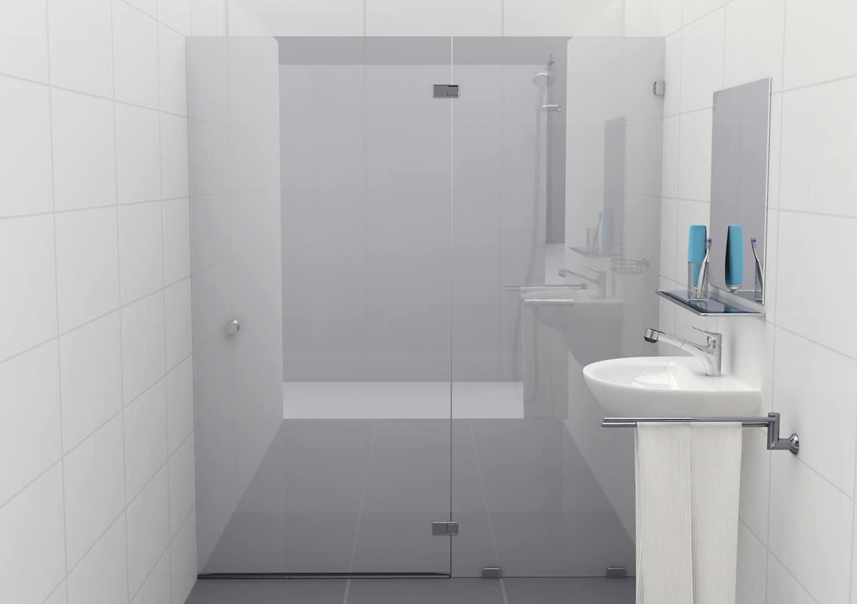 Douchecabine 180 graden mat glas met glasklem Type G (deur links)