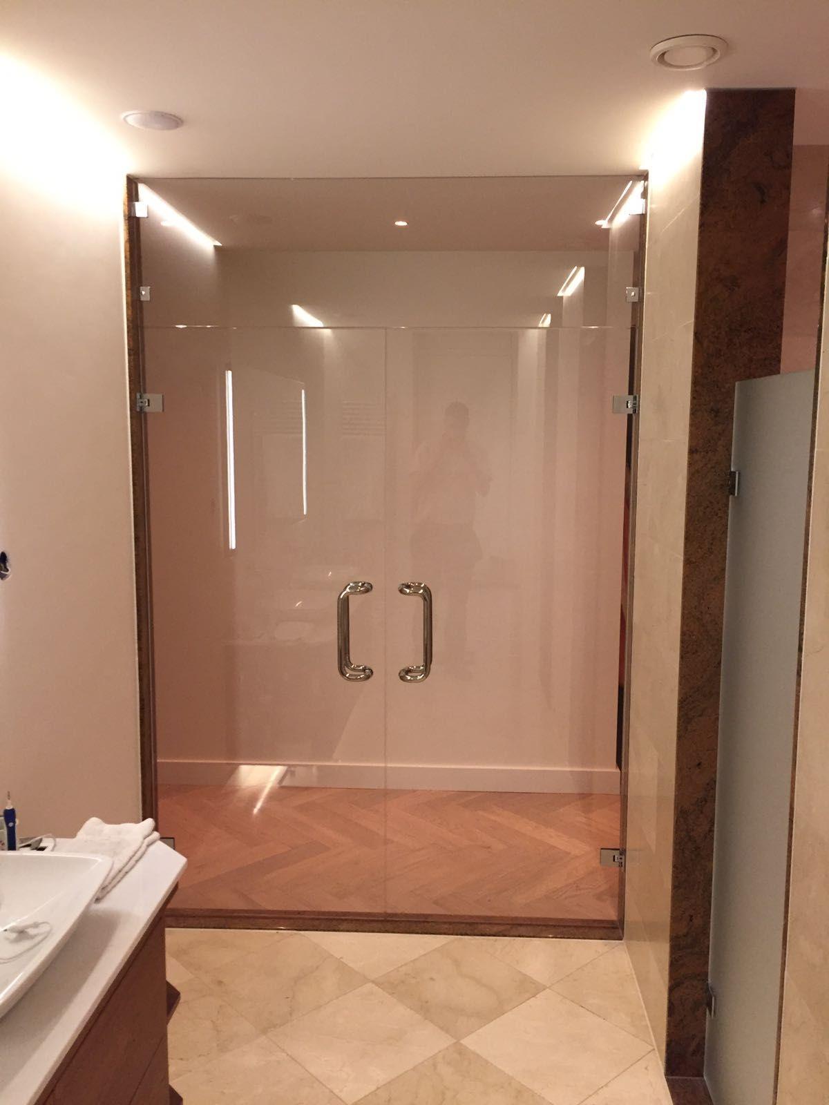 dubbele glazen deur brons glas