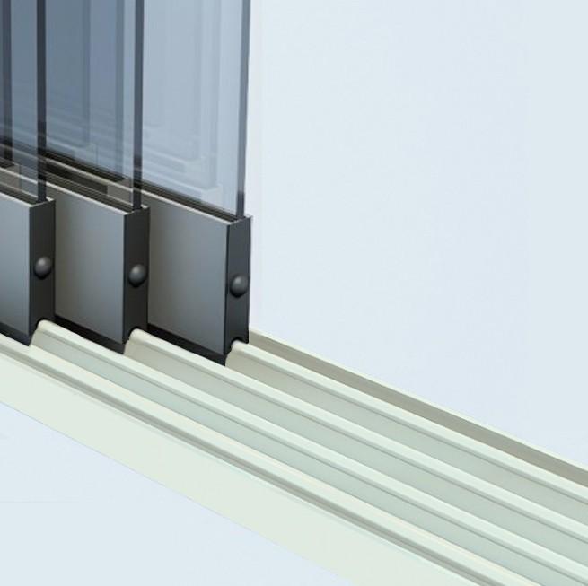 Glazen schuifwand rails