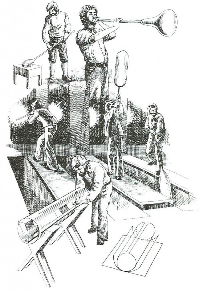 Handmatige productie van glas door middel van een blaaspijp