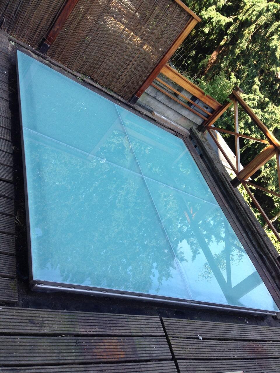 Beloopbaar glas in dakterras