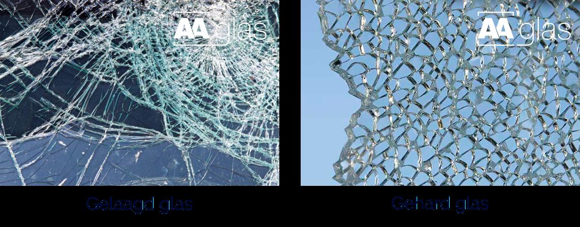 Gehard glas en gelaagd glas reageren anders bij een breuk