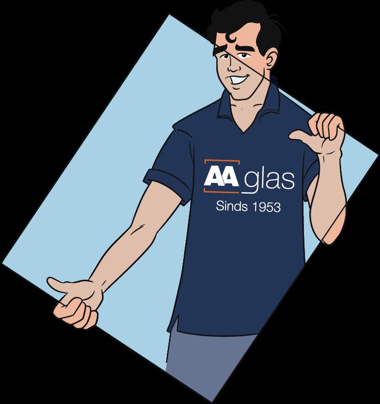 Illustratie van een AA Glas glaszetter