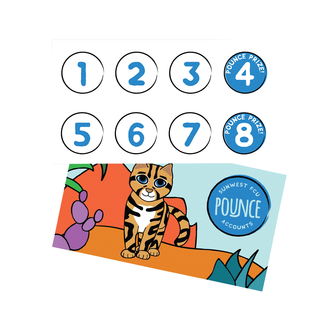 Pounce Accounts stamp card showing eight sticker spaces on the back of the card and Pounce in his desert scene on the front of the card