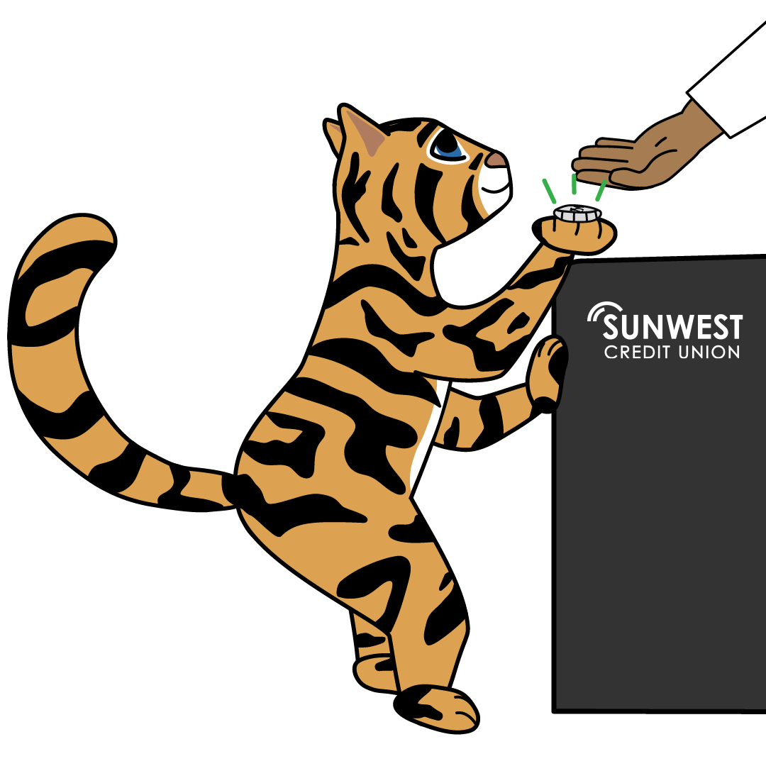 Illustration of Pounce leaning against counter to hand money to a teller at a SunWest branch