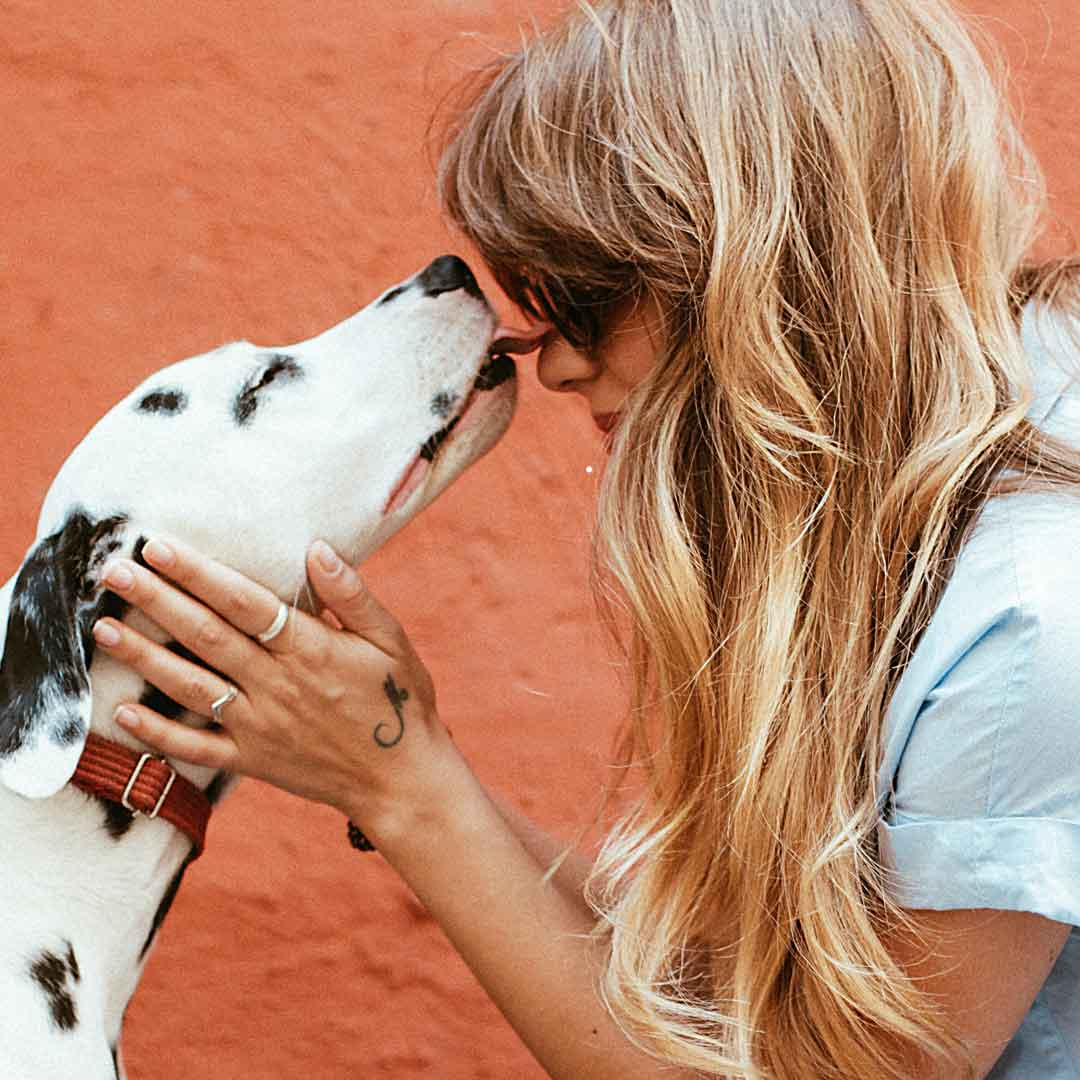 a young, stylish woman crouches down to hold the face of her Dalmatian dog