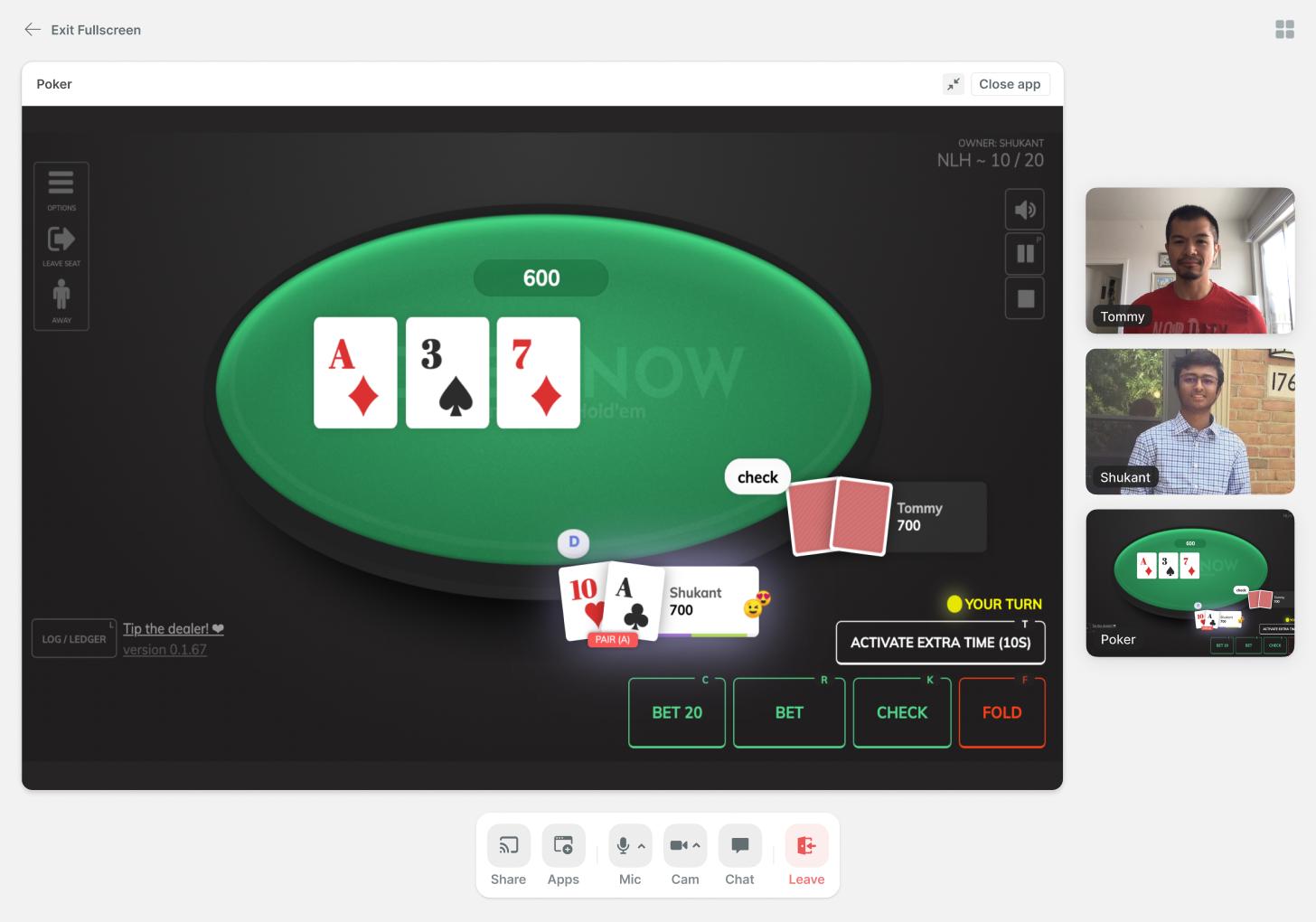 Playing poker inside a virtual office in Teamflow