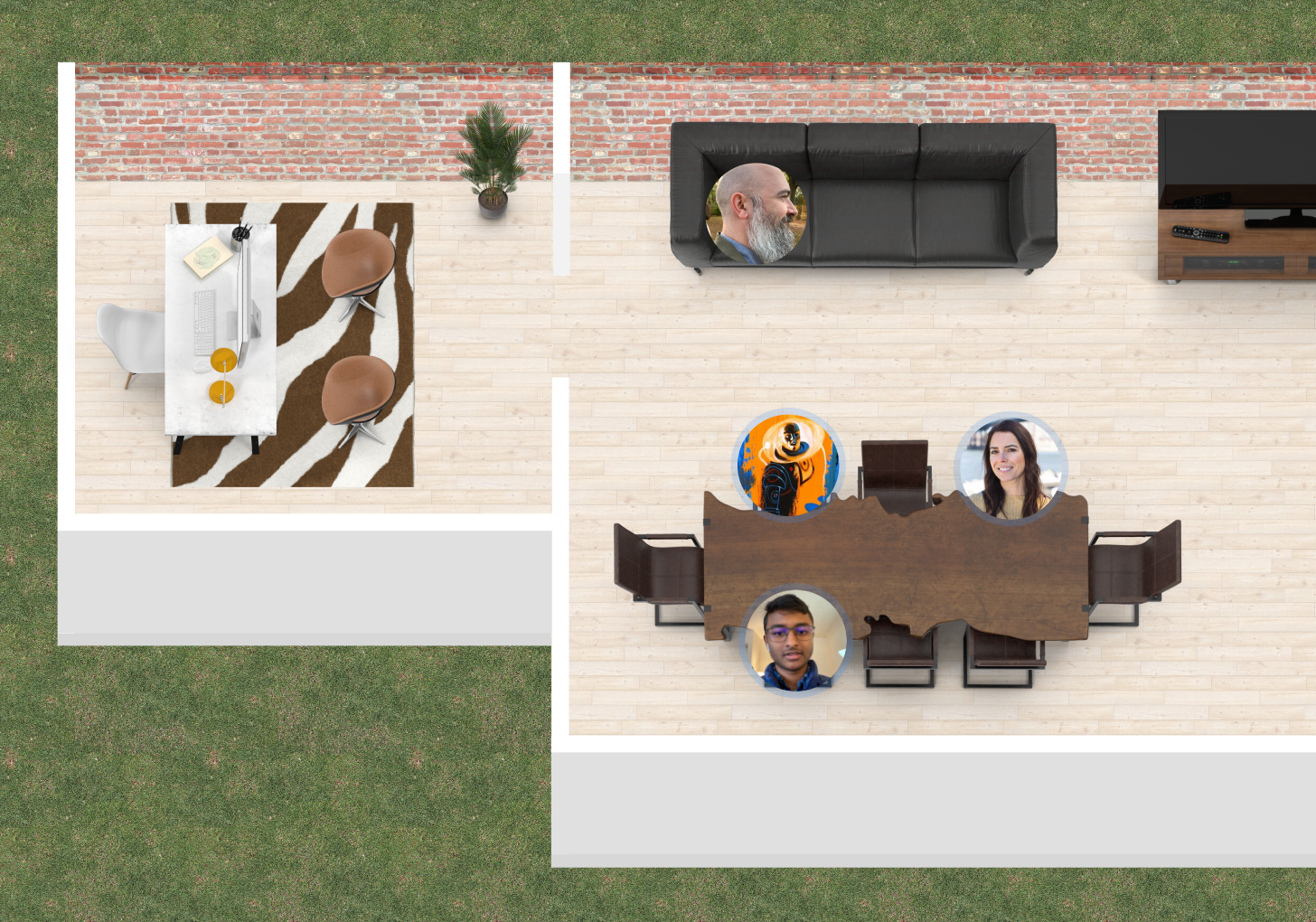 People working in a virtual Teamflow office