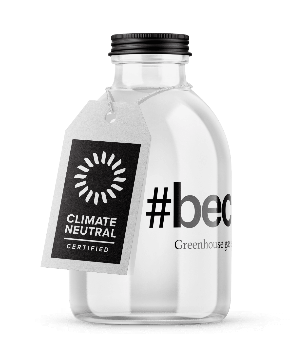 A glass bottle with a Climate Neutral Certified tag.