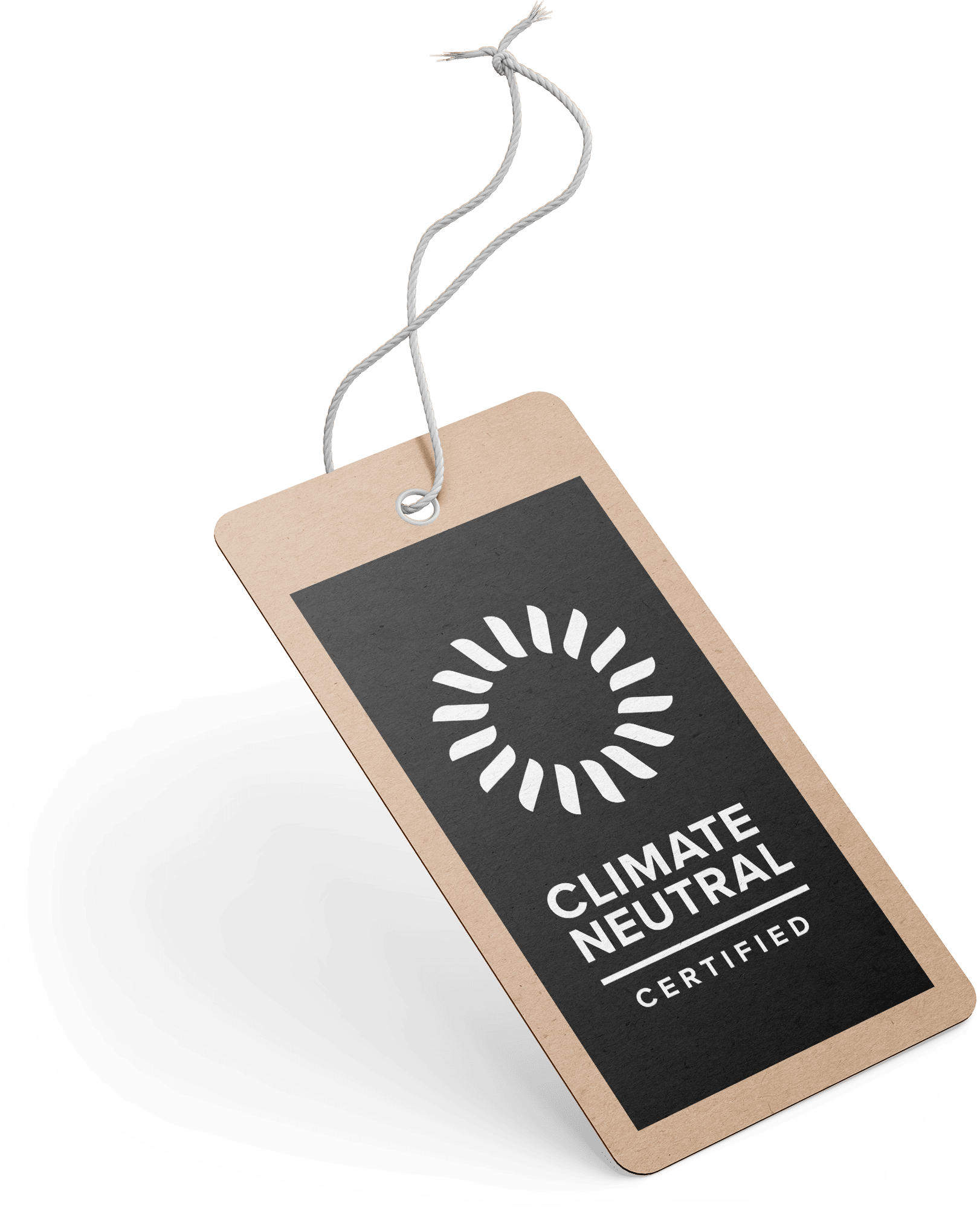 "Photo mockup of a label showing ""Climate Neutral Certified""."