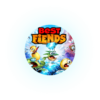Glowing orbs floating with an image of the mobile game Best Friends!