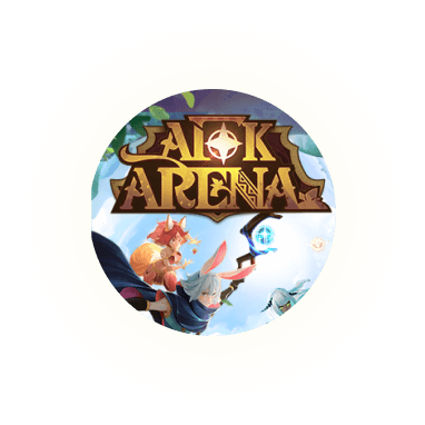 Glowing orbs floating with an image of the mobile game AFK Arena!