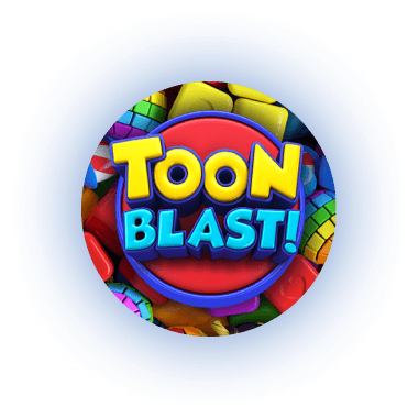 Glowing orbs floating with an image of the mobile game toon blast!