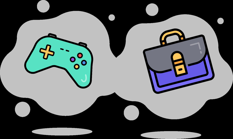 Illustration d'une manette de jeu et d'une valise