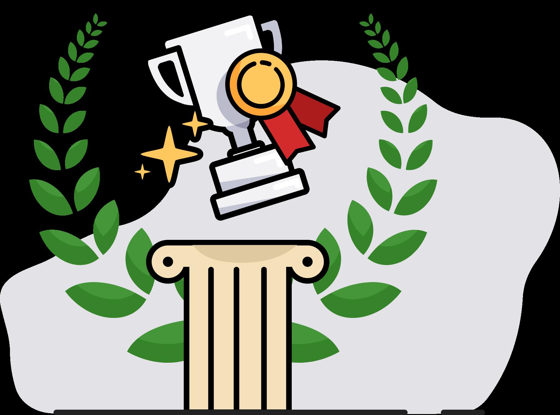 Illustration d'un trophée et d'une médaille au-dessus d'une colonne et de lauriers à l'arrière
