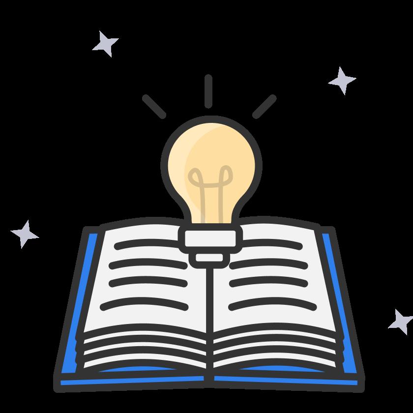 Illustration d'un livre et d'une ampoule