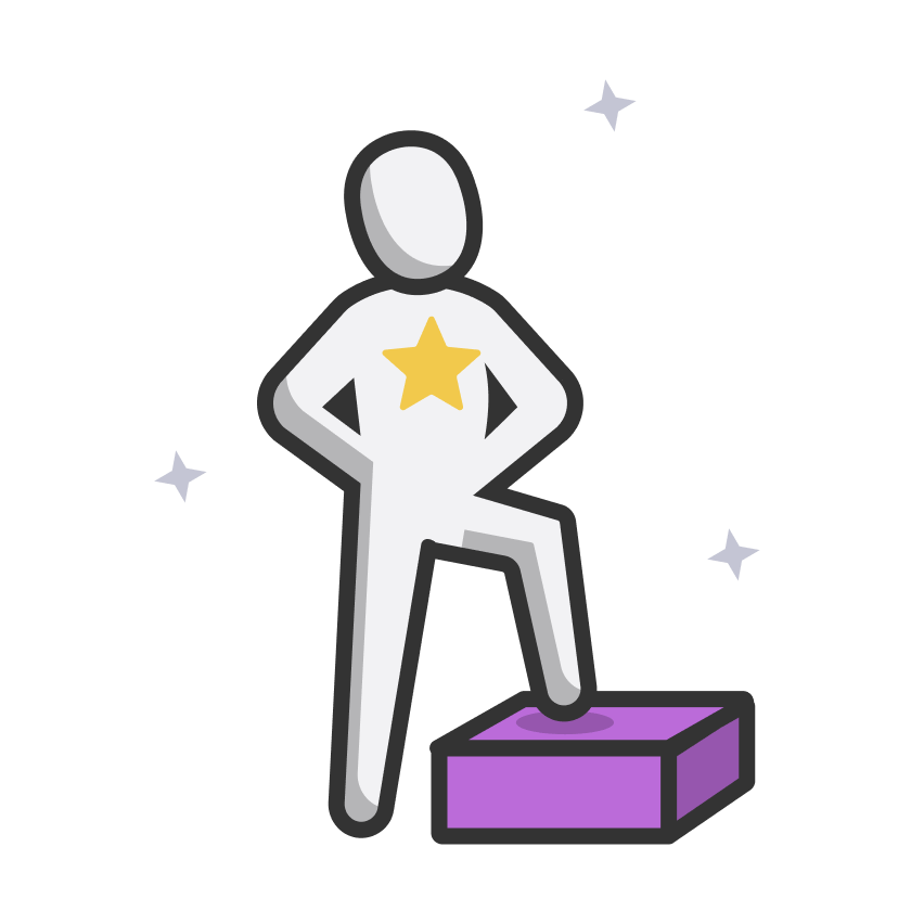 Illustration of a person proudly stepping on a podium